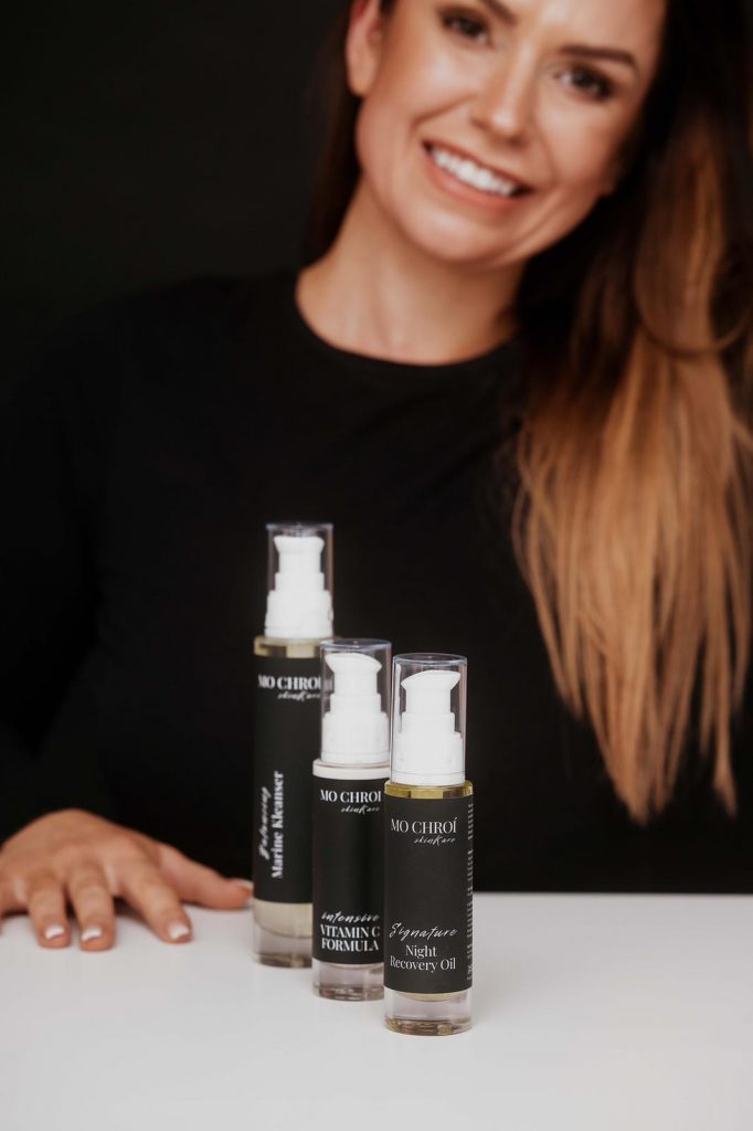 Owner with our facial treatment skin care products